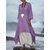 Wanita 3/4 lengan longgar O-neck High Low Hem Linen Cotton Dress