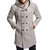 ChArmkpR Men Warm Slim Mid-long Hooded Solid Color Double-Breasted Trench Coats