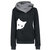Women Casual Cat Print Hooded Long Sleeve Sweatshirt with Pocket