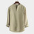 Mens Single-breasted Loose Stand Collar Long Sleeve Solid Color Casual T-Shirts