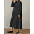 Women Loose Lapel Pleated Solid Color Button Dress with Pockets