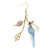 JASSY® 18K Gold Plated Jewelry Set Blue Silicon Flower Necklace Pearls Rhinestones Leaves Earring