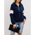 Zipper V-neck Color Patchwork Casual Sweatshirt Hoodies