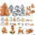 8PCS Hoarding 3D Christmas Scene Cookie Cutter Mold Set Stainless Steel Square Dan Cake Mould Silver