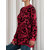 Women Casual O-neck Long Sleeve Pullover Leopard Print Sweaters