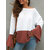 Plus Size Contrast Color One Shoulder Bell Sleeve Knit Sweaters