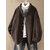 Plus Size Women Fleece Solid Color Stand Collar Coats