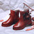 SOCOFY Women Handmade Flower Genuine Leather Solid Casual Ankle Short Boots
