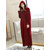 Women's Zip Front Textured Flannel With Hood Long Bathrobe Warm Nightgown