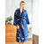 Red Long Sleeve Floral Bridal Silk Kimono Nightgown Robes