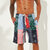 Mens Ethnic Style Printing Thin Patchwork Design Quick Dry Knee Length Casual Shorts