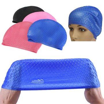 निविड़ अंधकार सिलिकॉन तैराकी कैप कान लंबे बाल ग्रीष्मकालीन वयस्कों की रक्षा