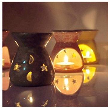 Portavelas de cerámica titular fragancia aceite quemadores lavanda aromaterapia aroma de regalo