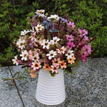 Margarita artificial Flores de seda Hoja Fiesta en casa Boda Jardín DIY Decoraciones