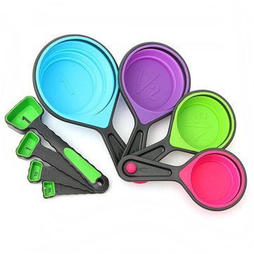 8pcs silicona coloridas plegables de medición cups cucharas cocina herramienta crema de cocina gadget
