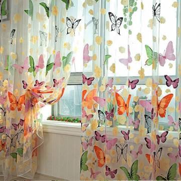 Mariposa imprime pantalla de la ventana de la puerta de pura ventana cortinas de Tul
