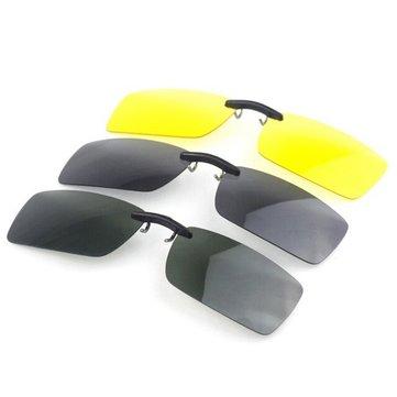 Polarized Clip On Sun Glassess Night Vision Clip Driver Glasses Lens
