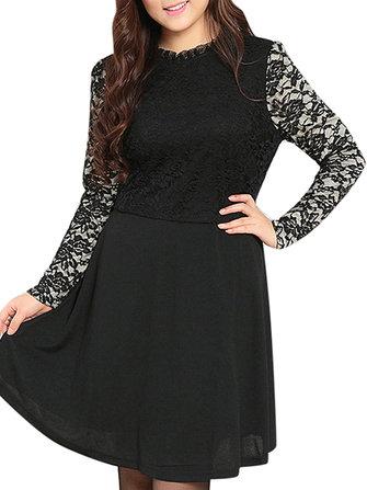 Women Plus Size Black Lace Patchwork Lining Skater Dress