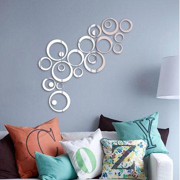 24PCS Circle 3D DIY Home Decor TV Wall Sticker Decoration Mirror Wall Stickers