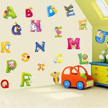 Los niños aprenden temprano etiqueta de la pared alfabeto animal decoración de la habitación de bricolaje