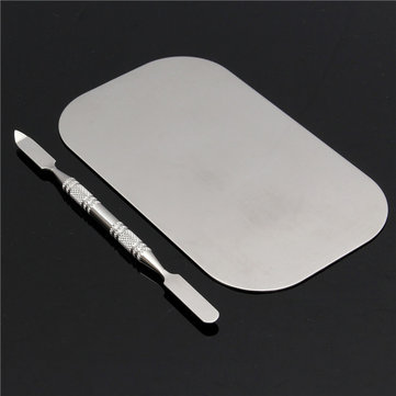 Stainless Steel Mixing Color Palette Nail Art Dish Spatula Makeup Cosmetic Blending Colors Tools