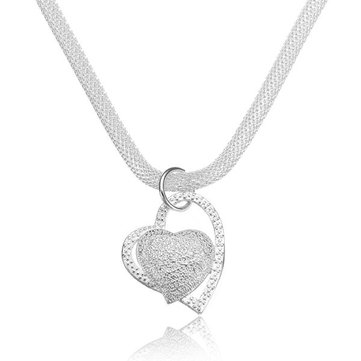 925 Silver Plated Inlaid Heart Pendant Net Chain Necklace For Women