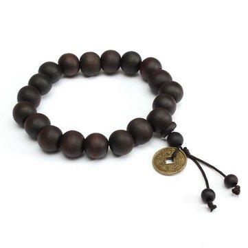 Vintage Unisex Đen Phật giáo Tây Tạng Cầu nguyện Hạt gỗ Đồng hồ đeo tay cho nam giới