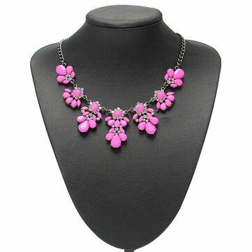 Crystal Flower Colgante Collar Llamativo Collar de Cadena de Metal