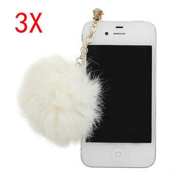 3X3.5ミリメートルファーボールハンギングペンダント携帯電話用防塵プラグ