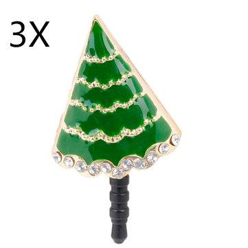 3xクリスマスギフトツリー携帯電話アンチダストプラグ携帯電話用