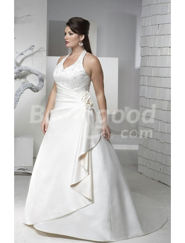A-line Halter Cathedral Train Plus Size Wedding Dress