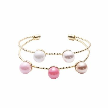 Trendy Balancing Style Double Layer Pearl Bracelet Simple Alloy Rainbow Pearl Bracelets for Women