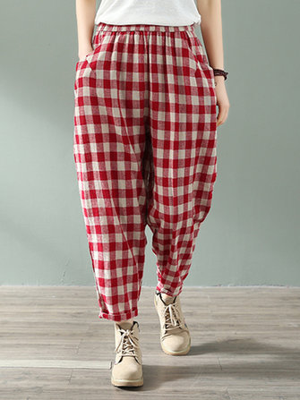 Women Casual Plaid Elastic Waist Side Pockets Harlan Pants