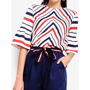Women Half Sleeve Stripe Loose Casual T-shirts
