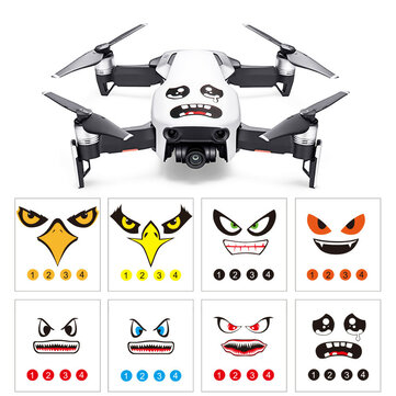 RCGEEK Fun Expression Smile Shark Stickers Decals Skin 8Pcs for DJI Mavic 2 AIR Spark Phantom RC Drone
