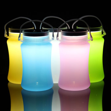 Solar Powered LED Camping Lantern Silicone Bottle Outdoor Night Light with USB Cable