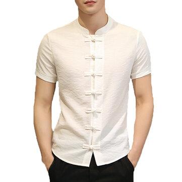 पुरुषों की चीनी शैली जातीय स्टैंड कॉलर स्लिम फिट लघु आस्तीन शर्ट सबसे ऊपर है
