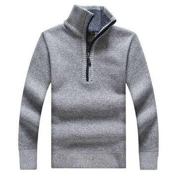 शीतकालीन पुरुषों गर्म मोटा हुआ स्वेटर जिपर पुलओवर कॉलर आरामदायक नाइटवियर स्वेटर खड़े हो जाओ