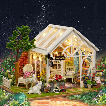 CuteRoom A-063-C Sunshine Greenhouse Flower Shop DIY Dollhouse With Music Cover Light Miniature Gift