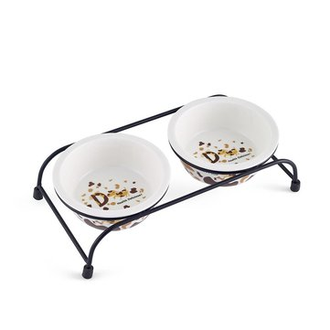 Ceramic Pet Bowl for Food and Water Bowls Pet Feeders Double Bowls Set Antique Metal Stand