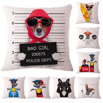 Honana 45x45cm Home Decoration Creative Cute Cartoon Dogs 8 Optional Patterns Cotton Linen Pillowcases Sofa Cushion Cover