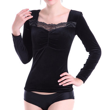 Women Soft Stretchy Thermal Long Sleeves Elegant Lace Tops Shapewear