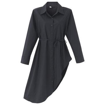 महिला ठोस लंबी आस्तीन अनियमित कमर शर्ट पोशाक