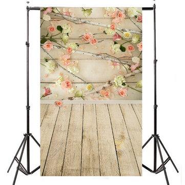 3x5 pies de vinilo telones de fondo de la flor de suelo de madera de la fotografía de estudio de los apoyos de fondo