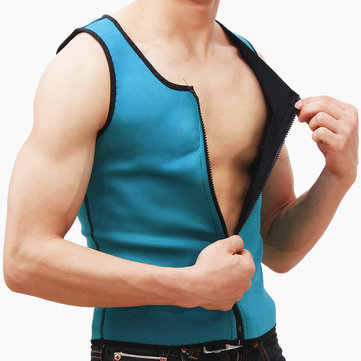 Green Men Slimming Vest Body Shaper Belly Wrap Abdomen Weight Loss Zipper Sauna Corset Shapewear