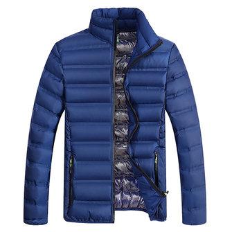 पुरुषों मोटी स्टैंड कॉलर जैकेट शीतकालीन आरामदायक ठोस रंग गद्दीदार स्लिम फिट निविड़ अंधकार कोट