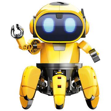Pro'sKit GE-893 STEAM DIY AI Robot RC Infrarrojo inteligente Evade Bonds Walking ABS Robot Toy