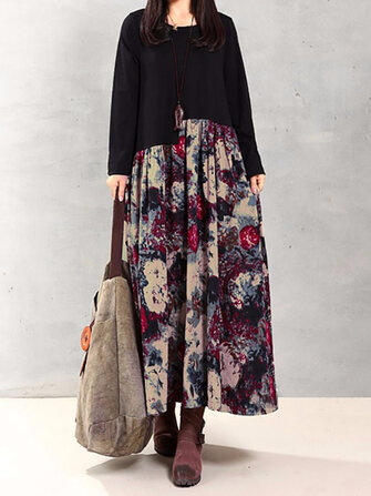 Vintage Women Floral Printed Patchwork Long Sleeve Maxi Dress