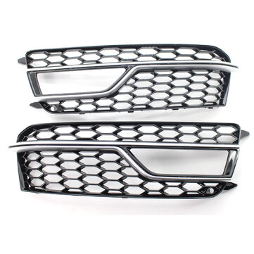 Pair Front Bumper Fog Light Grill Grille Silver Trim For Adufi S-Line A5 S5 2013-2016