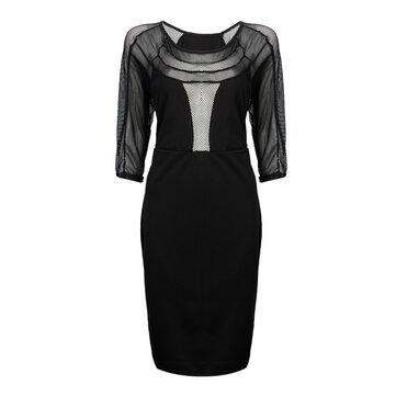 Sexy Grid Patchwork Berongga Out Women Bodycon Pencil Dress